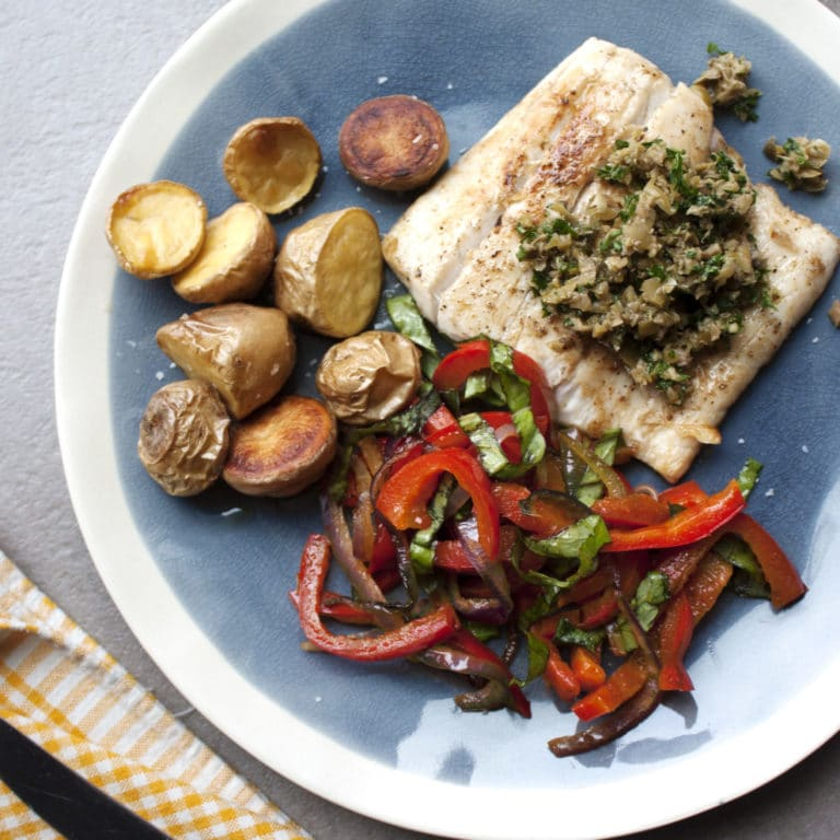 Pan Seared Fish with Peppers and Caper-Olive Pesto / Laura Agra / Katie Workman / themom100.com