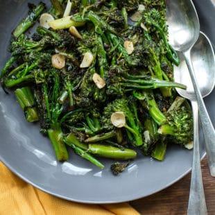 "Broccolini Strascinati (""Dragged"" Broccoli) / Katie Workman / themom100.com / Photo by Sarah Crowder"