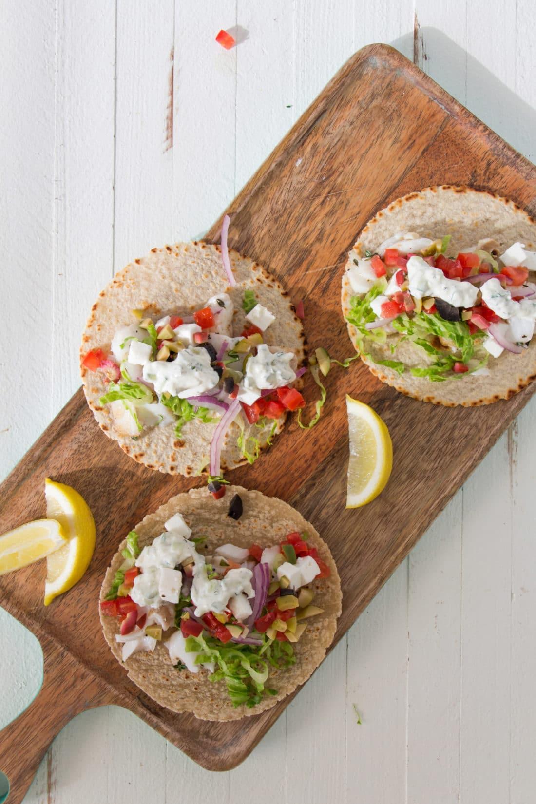 Greek Fish Tacos / Photo by Mandy Maxwell / Katie Workman / themom100.com