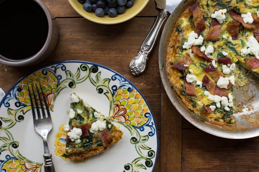 Lardons, Goat Cheese and Spinach Frittata