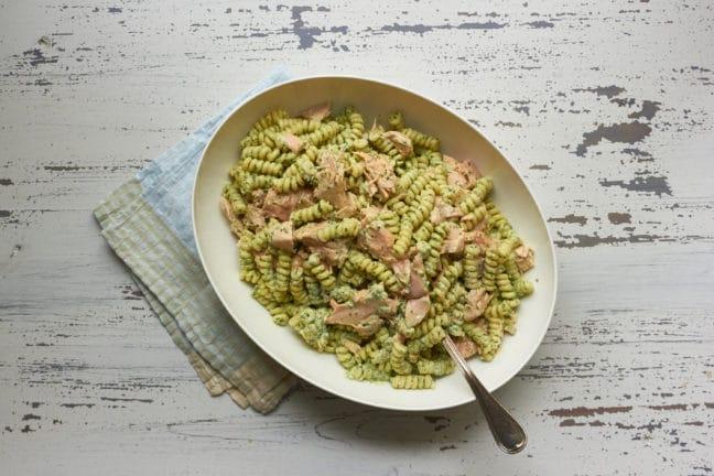 Pasta Salad with Salmon and Creamy Cilantro Dressing / Mia / Katie Workman / themom100.com