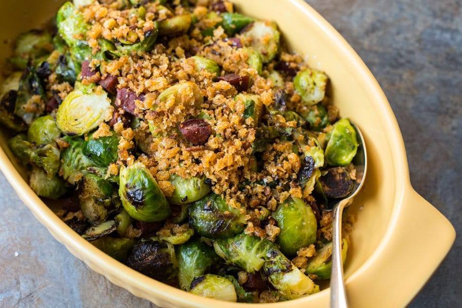 Pan Roasted Brussels Sprouts with Chorizo and Toasted Bread Crumbs/ Sarah Crowder / Katie Workman / themom100.com