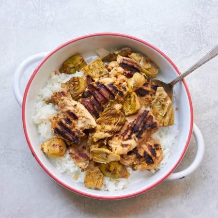 Grilled Lemony Chicken and Baby Artichokes / Mia / Katie Workman / themom100.com