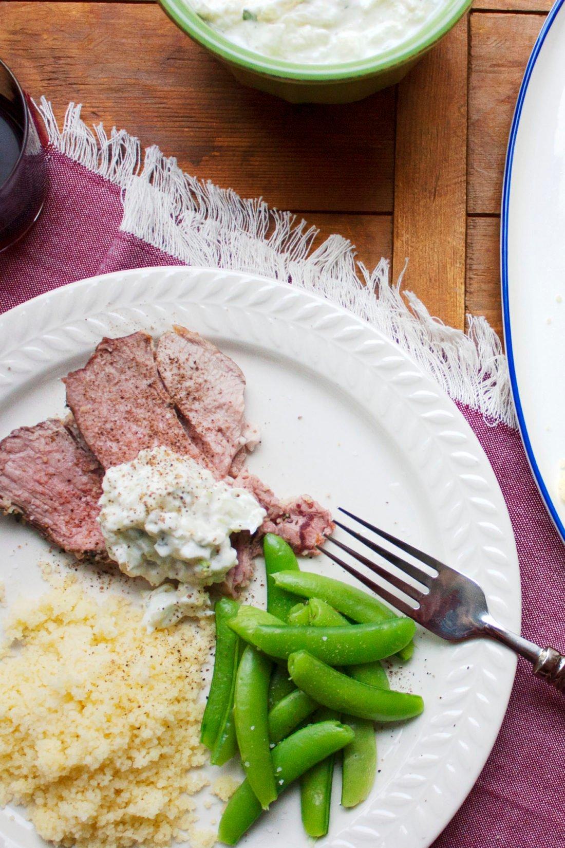 Slow Cooked Mediterranean Leg of Lamb with Tzatziki