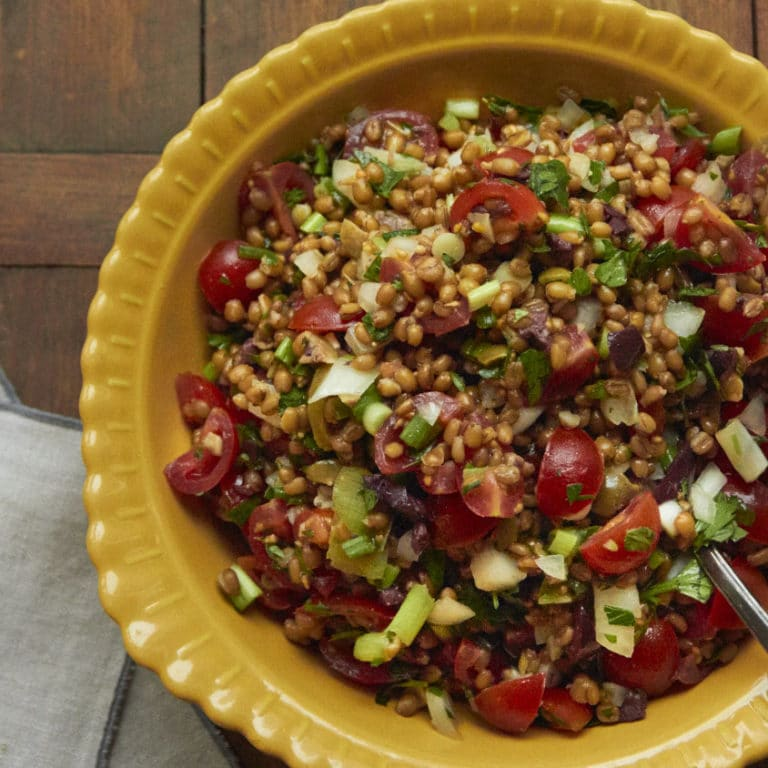 Mediterranean Tomato Wheat Berry Salad with Fresh Herbs / Mia / Katie Workman / themom100.com