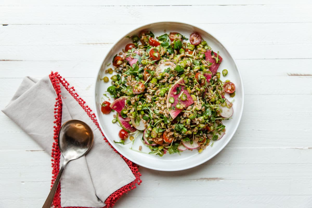 Farro and Vegetable Salad / Carrie Crow / Katie Workman / themom100.com