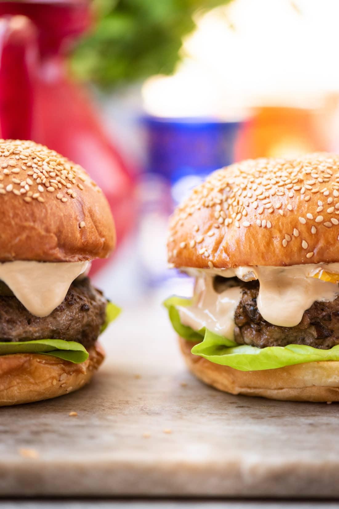 asian beef mushroom burgers /Katie Workman/themom100.com/photo by Cheyenne Cohen