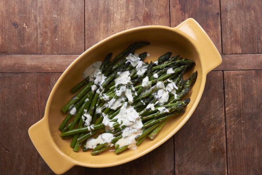Roasted Asparagus with Creamy Mustard-Oregano Sauce / Mia / Katie Workman / themom100.com