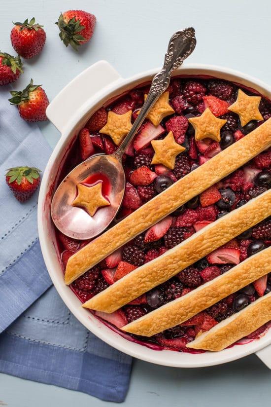 Patriotic Berry Cobbler with Whipped Cream / Sarah Crowder / Katie Workman / themom100.com
