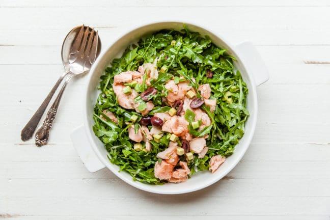 Salmon, Arugula, and Avocado Salad with Lemon Vinaigrette / Carrie Crow / Katie Workman / themom100.com