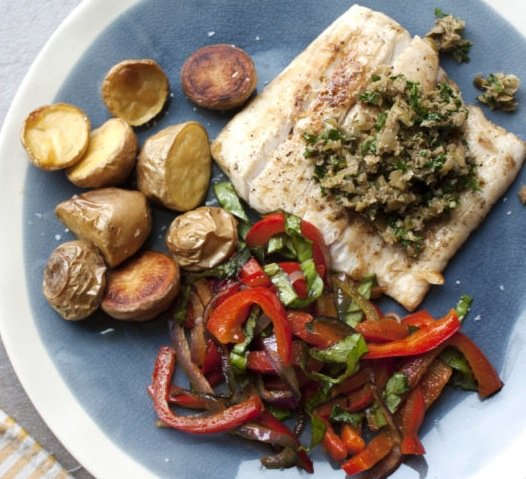 Pan Seared Fish with Peppers and Caper-Olive Pesto / Katie Workman / themom100.com
