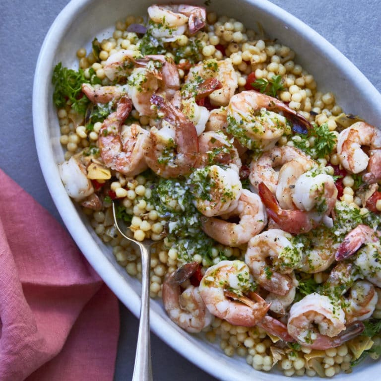 Couscous Salad with Shrimp, Roasted Tomatoes and Pesto Dressing / Mia / Katie Workman / themom100.com