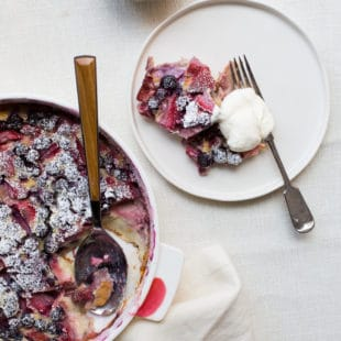 Summer Berry Clafoutis with Whipped Cream / Katie Workman / themom100.com / Photo by Sarah Crowder