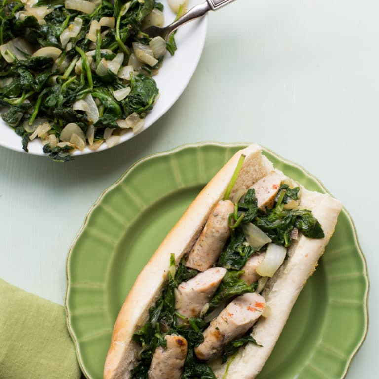 Chicken Sausage and Sautéed Greens Sub / Sarah Crowder / Katie Workman / themom100.com