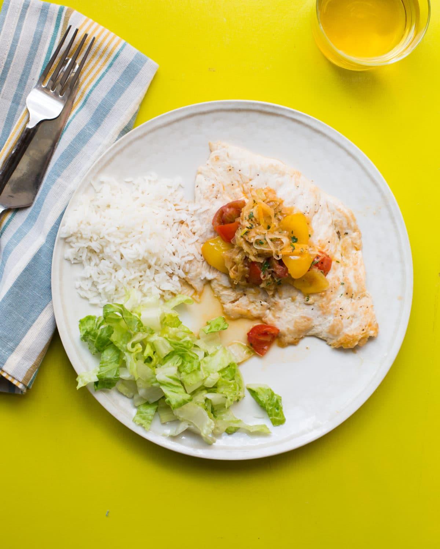 Chicken with Tomato and Leek Pan Sauce with Jasmine Rice / Sarah Crowder / Katie Workman / themom100.com