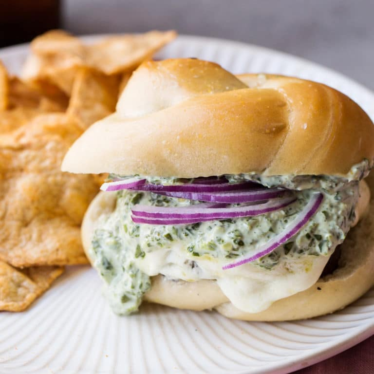 Grilled Cheeseburgers with Herb Sauce