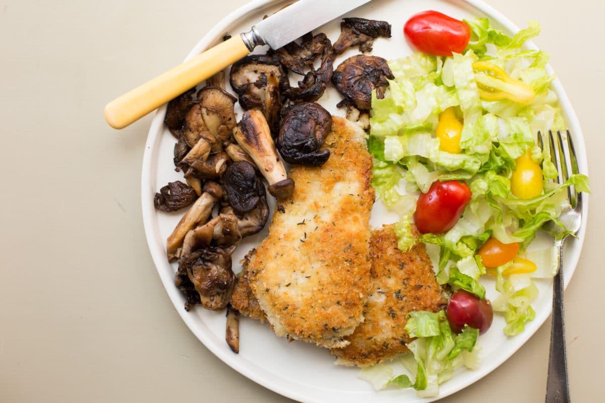 Pork Schnitzel with Sautéed Mushrooms / Sarah Crowder / Katie Workman / themom100.com