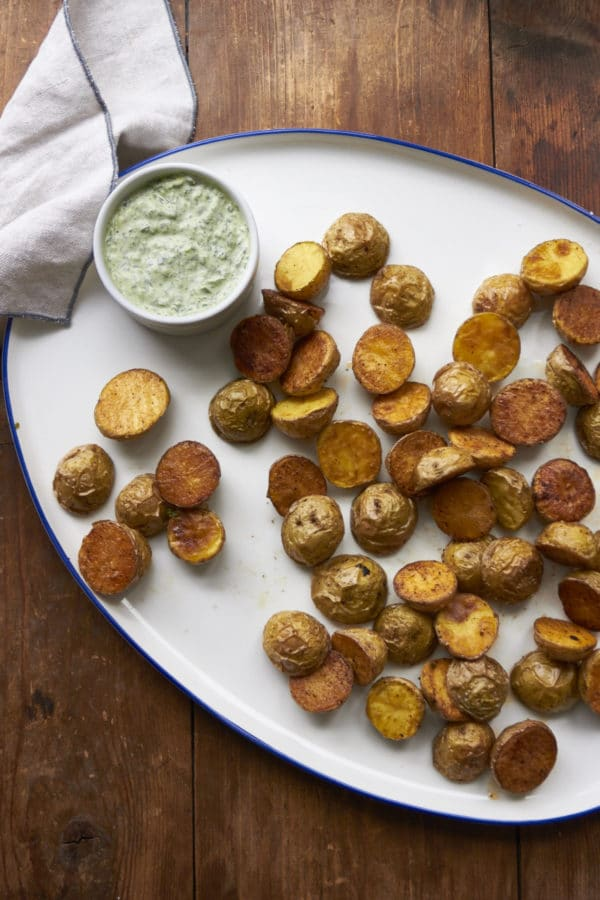 Roasted Potatoes with Arugula-Basil Dipping Sauce / Mia / Katie Workman / themom100.com
