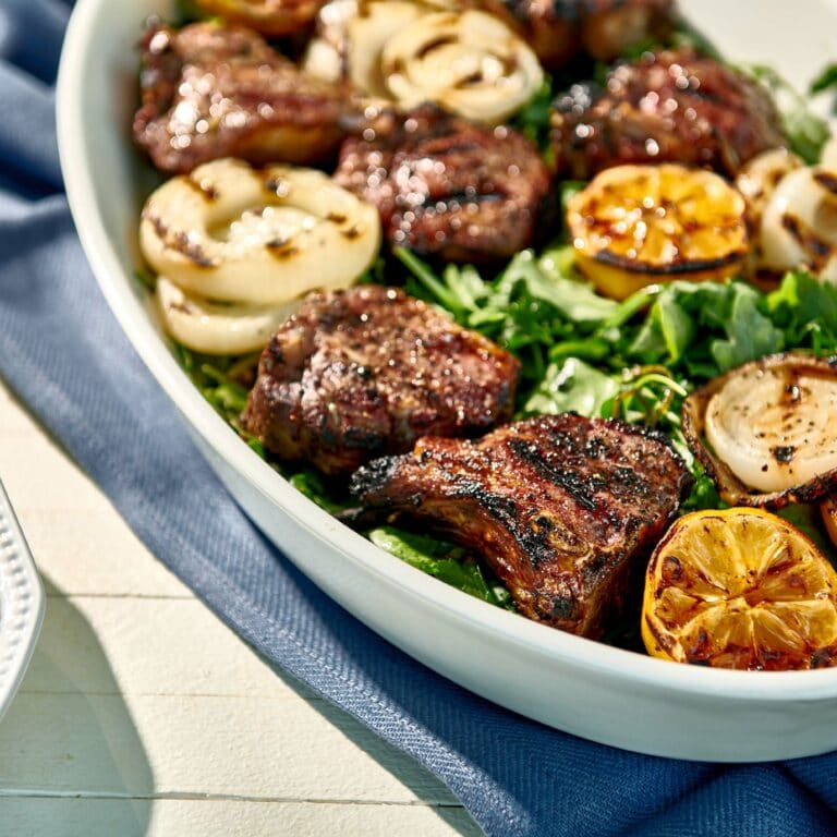 Grilled Lamb Chops and Onions with Herb Salad