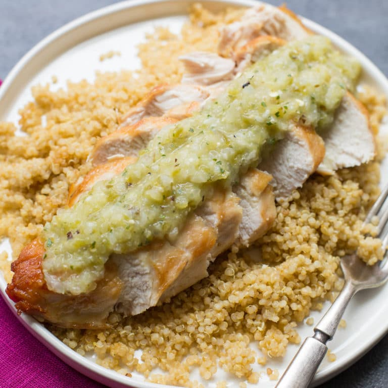 Pan Seared Chicken Breasts with Roasted Tomatillo Salsa / Sarah Crowder / Katie Workman / themom100.com