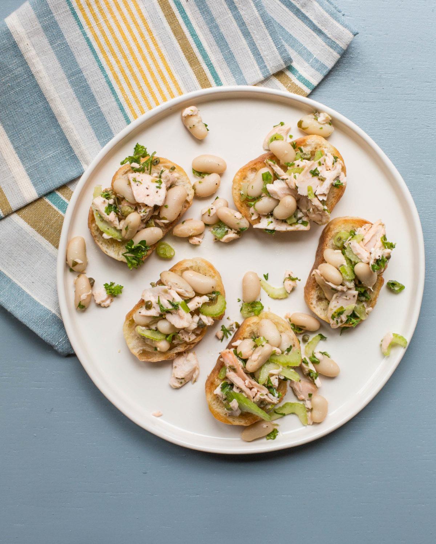Salmon and White Bean Bruschetta / Sarah Crowder / Katie Workman / themom100.com