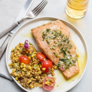 Salmon with Tarragon Vinaigrette / Sarah Crowder / Katie Workman / themom100.com