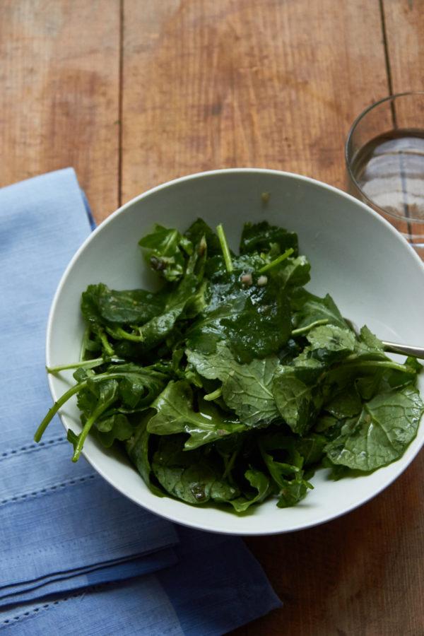 Arugula and Kale with Scallion Mustard Vinaigrette / Mia / Katie Workman / themom100.com