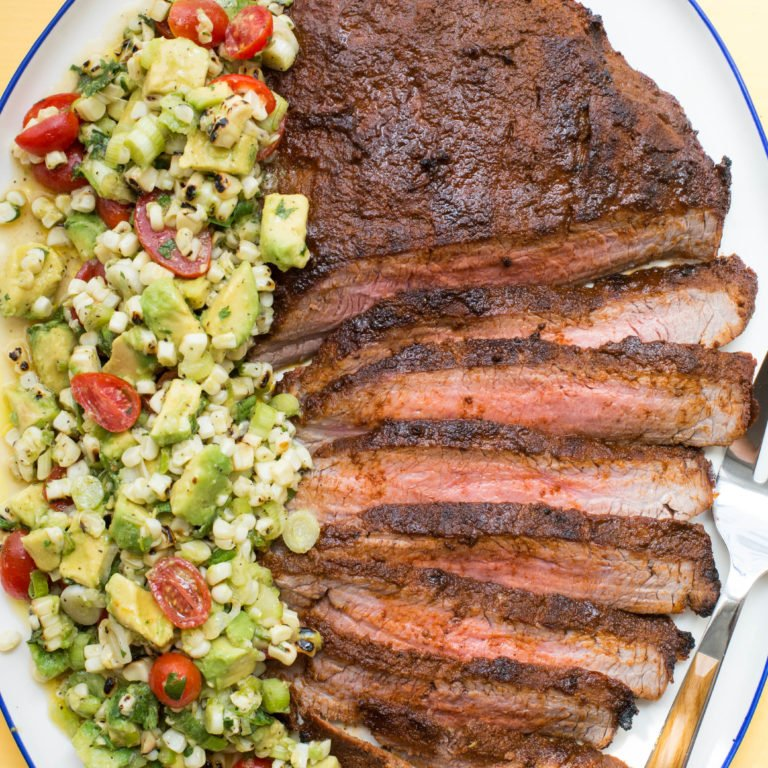 Chili Rubbed Flank Steak with Corn, Tomato and Avocado Salad / Sarah Crowder / Katie Workman / themom100.com