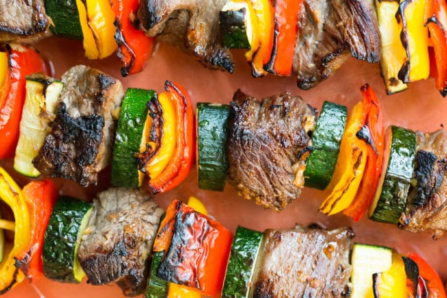 Beef Teriyaki Kebabs with Peppers, Zucchini / Sarah Crowder / Katie Workman / themom100.com