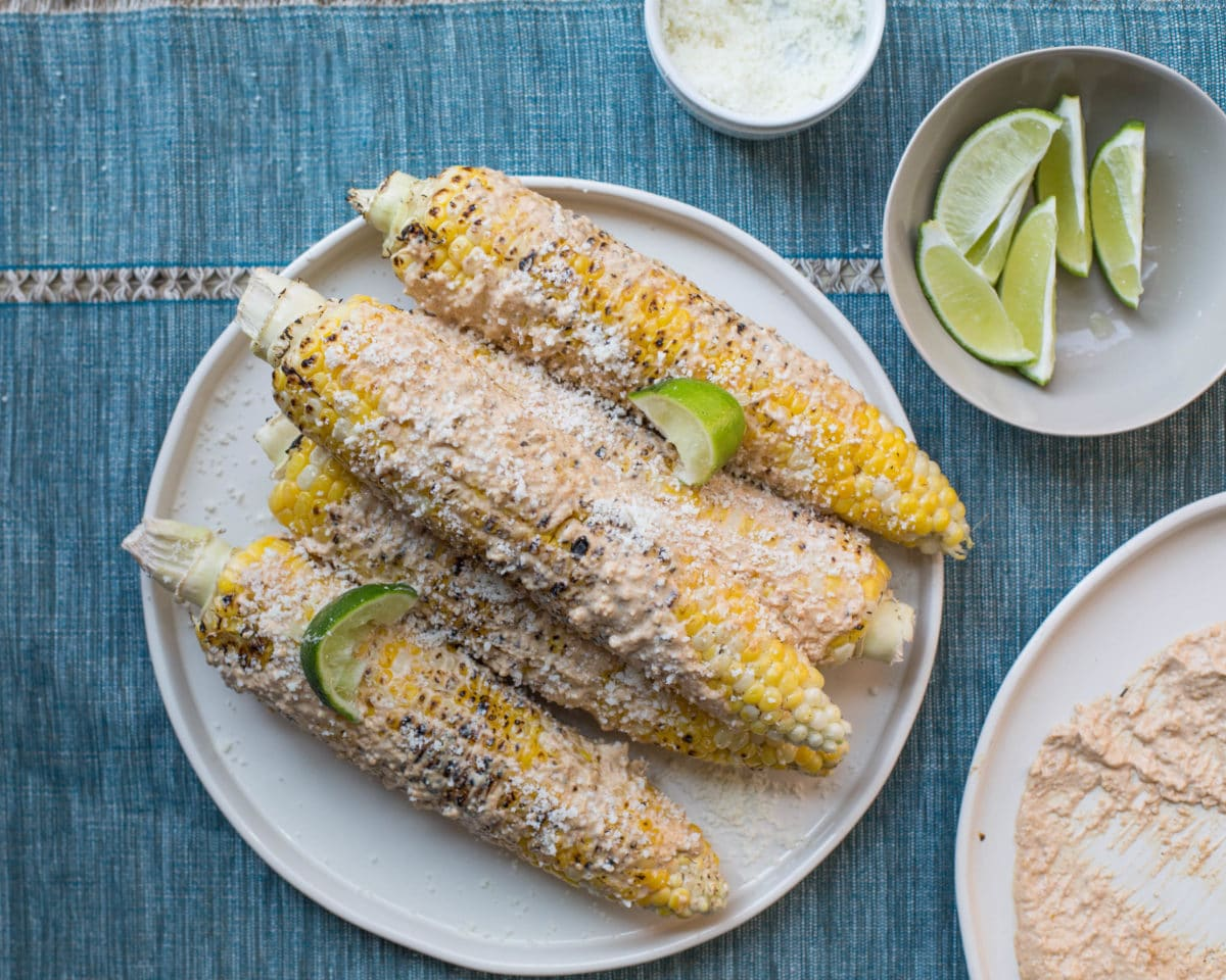 Grilled Corn with cheese and limes