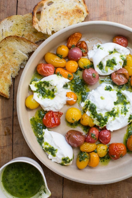 Roasted Cherry Tomatoes with Burrata and Basil Oil