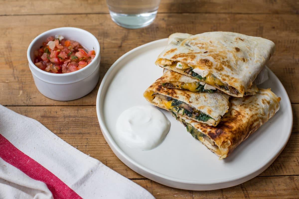 Spinach, Mushroom, and Chicken Quesadillas / Sarah Crowder / Katie Workman / themom100.com