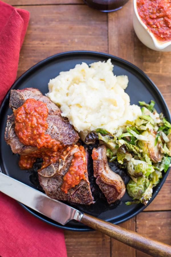 Loin Lamb Chops with Roasted Tomato and Garlic Sauce / Sarah Crowder / Katie Workman / themom100.com