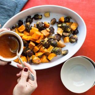 Roasted Vegetables with Sriracha Honey Glaze