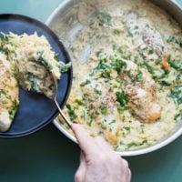 Cheesy Chicken and Orzo / Saral Crowder / Katie Workman / themom100.com