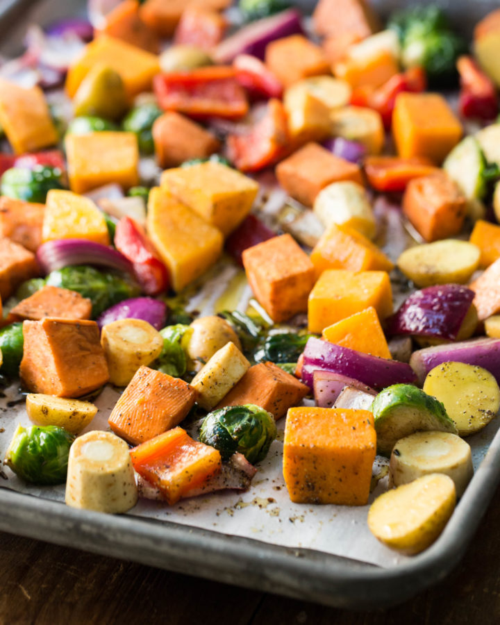 Roasted Winter Vegetables on a sheet pan