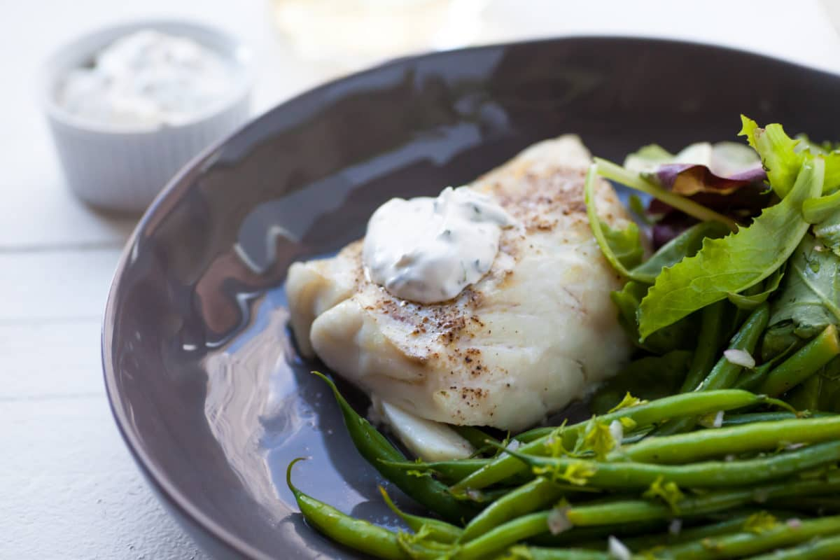Cod with Simplest Fresh Herb Sauce / Carrie Crow / Katie Workman / themom100.com