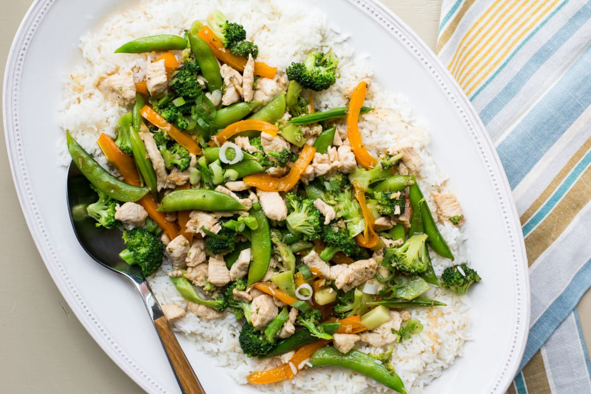 chicken stir fry with broccoli and sugar snap peas / Katie Workman / themom100.com