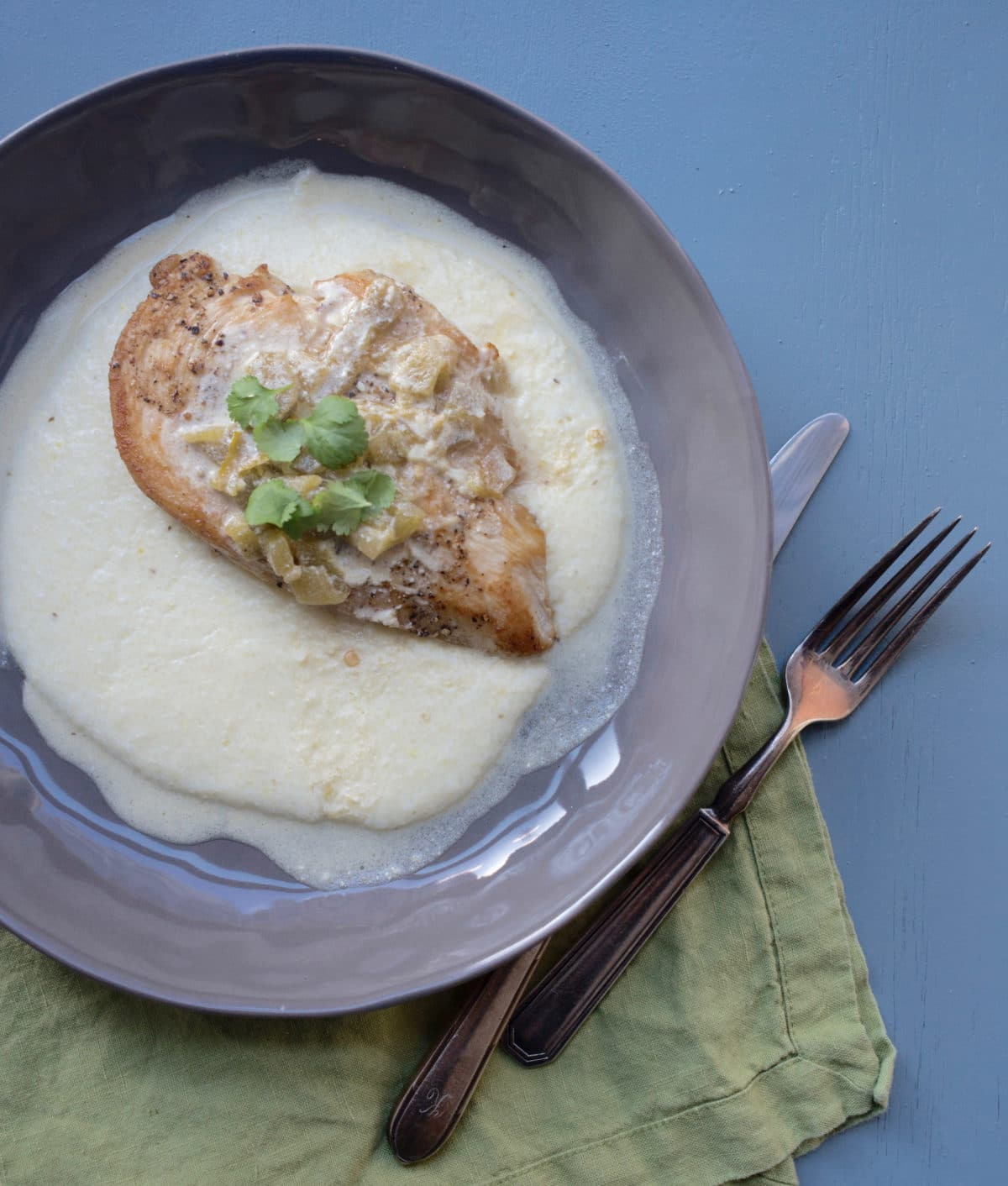 Grits with Chicken and Creamy Green Chili Pan Sauce/photo Lucy Beni/Katie Workman/themom100.com