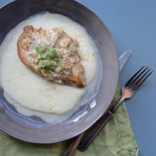 Grits with Chicken and Tomatillo Green Chili and Sour Cream Pan Sauce / Lucy Beni / Katie Workman / themom100.com
