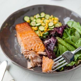 Simple Asian Salmon with Sautéed Corn and Zucchini / Carrie Crow / Katie Workman / themom100.com