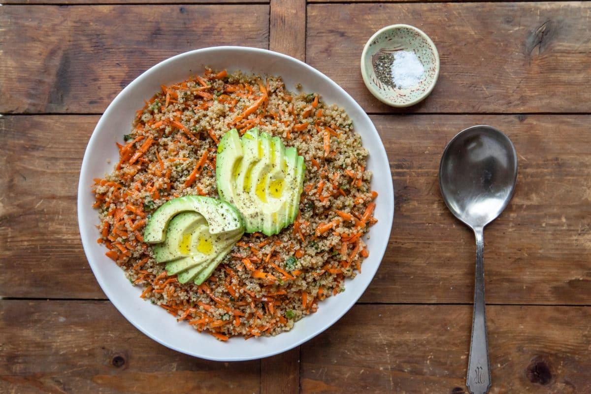 Sesame-Honey Quinoa and Carrot Salad with Sliced Avocado / Carrie Crow / Katie Workman / themom100.com