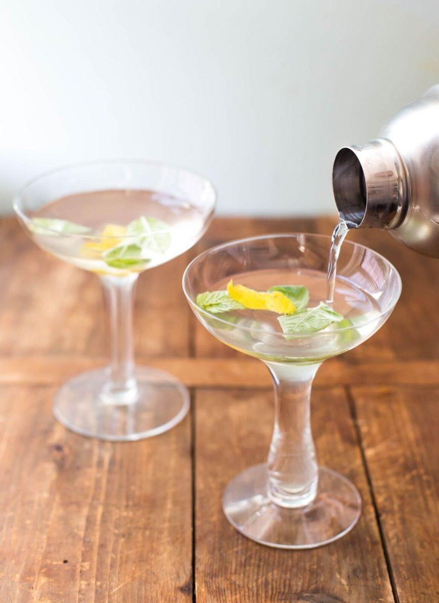 Basil Ginger Lemon Saketini in coupe glasses