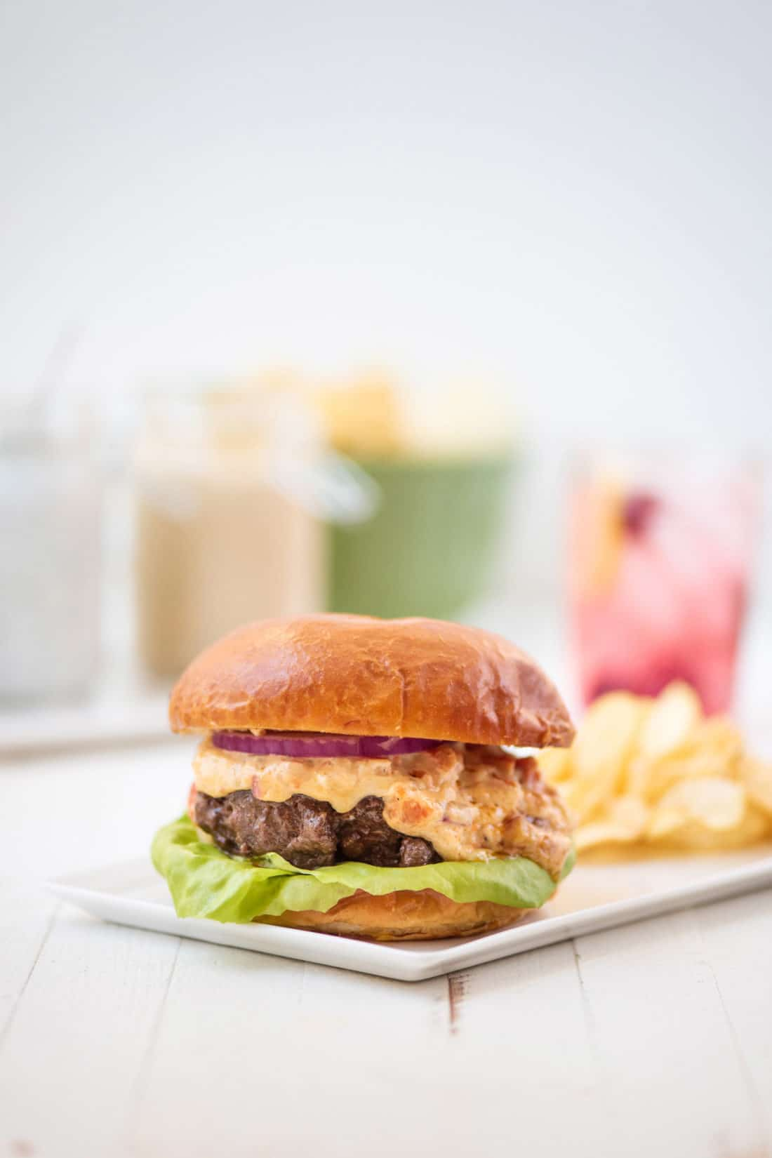 Burger with Pimento Cheese Spread / Photo by Kerri Brewer / Katie Workman / themom100.com