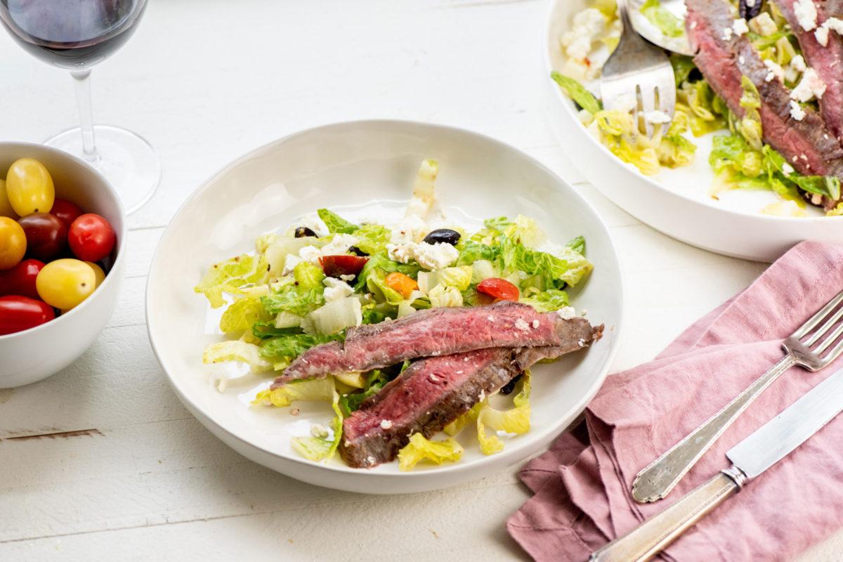 Greek Salad with Flank Steak / Photo by Cheyenne Cohen / Katie Workman / themom100.com