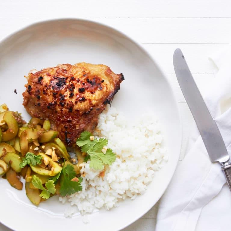 Thai Chicken Thighs with Thai Cucumber Salad / Photo by Mia / Katie Workman / themom100.com