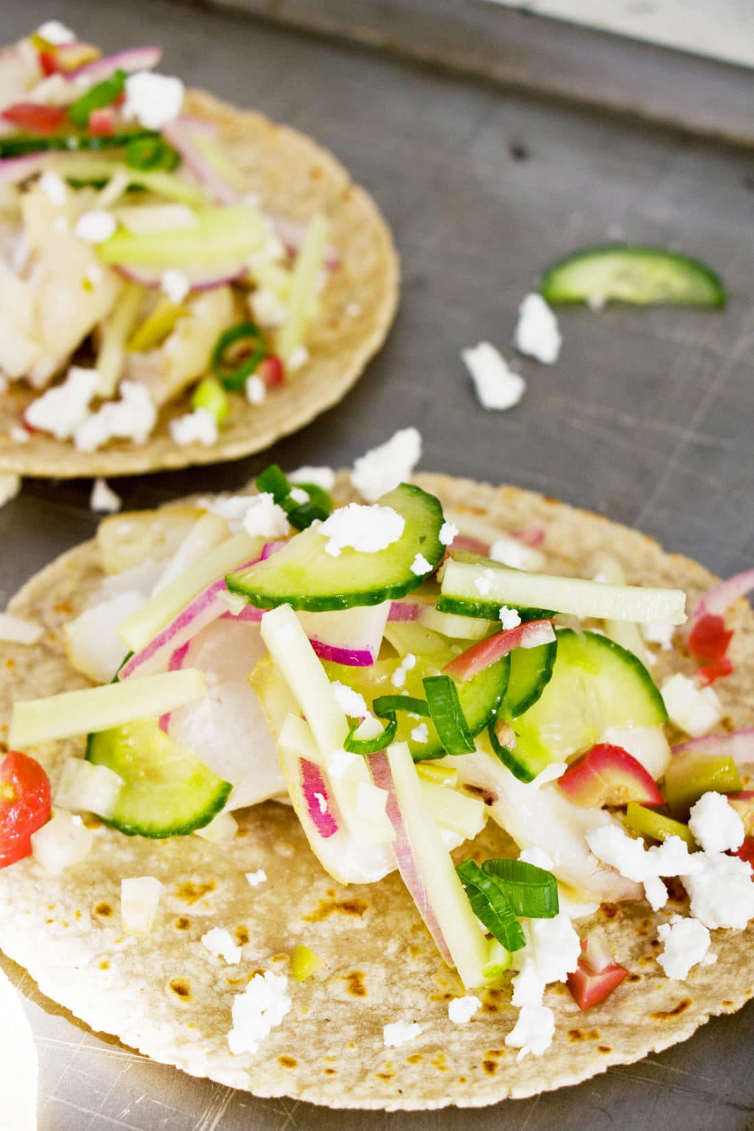 Flaky Fish Tacos with Vegetable Slaw / Photo by Mandy Maxwell / Katie Workman / themom100.com