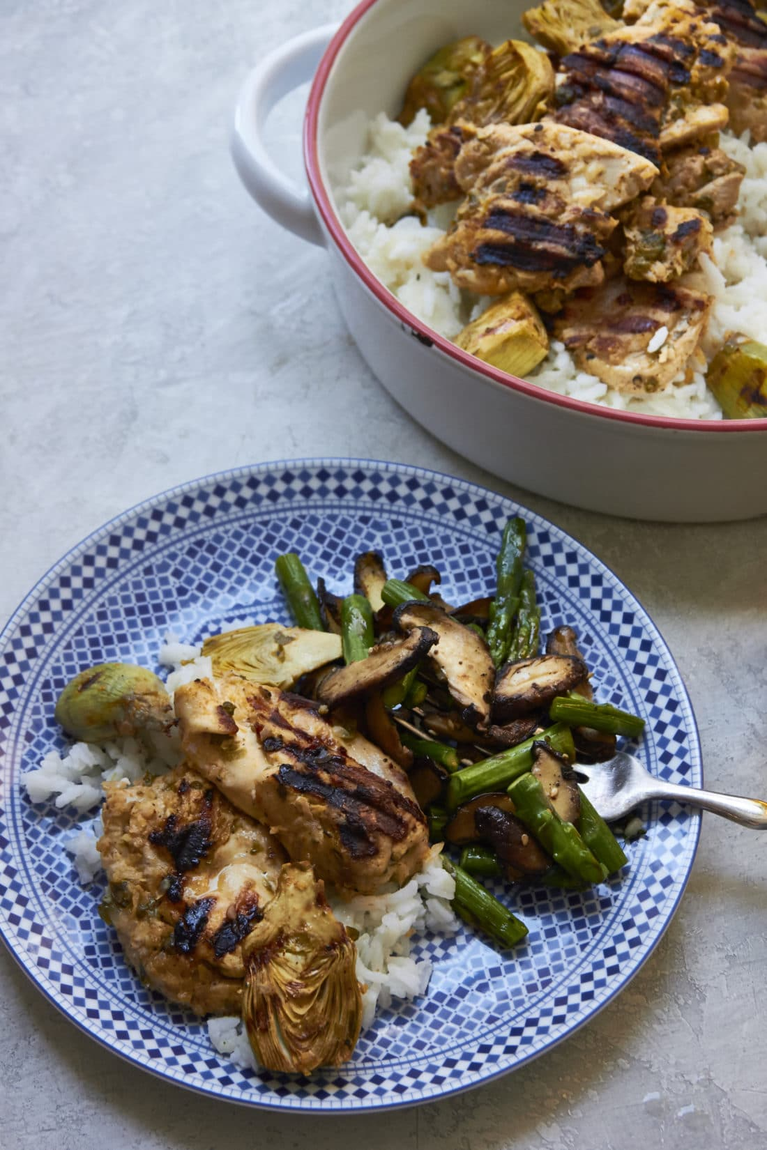 Grilled Lemony Chicken and Baby Artichokes