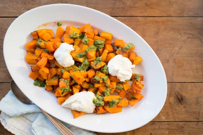 Roasted Squash with Salsa Verde and Whipped Feta and Ricotta / Photo by Lucy Beni / Katie Workman / themom100.com