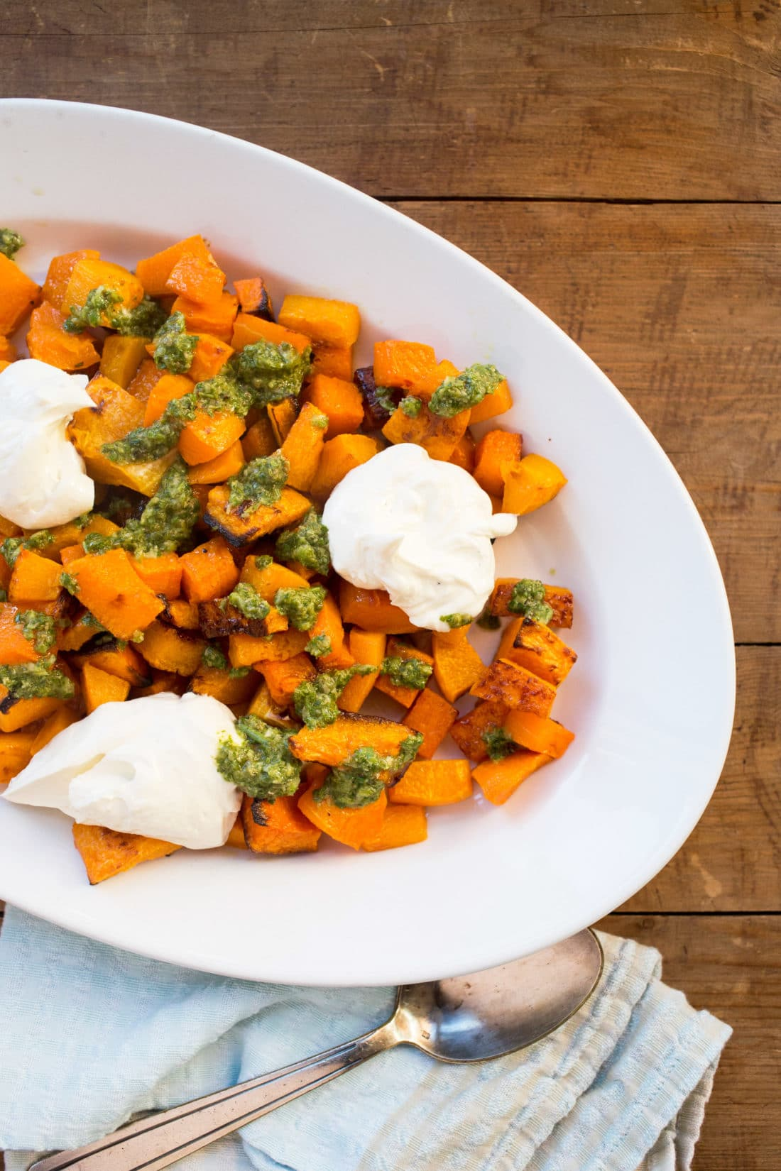 Roasted Squash with Salsa Verde and Whipped Feta and Ricotta